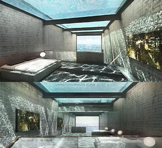 Casas fantásticas por dentro - Sala e Quarto embaixo de Piscina