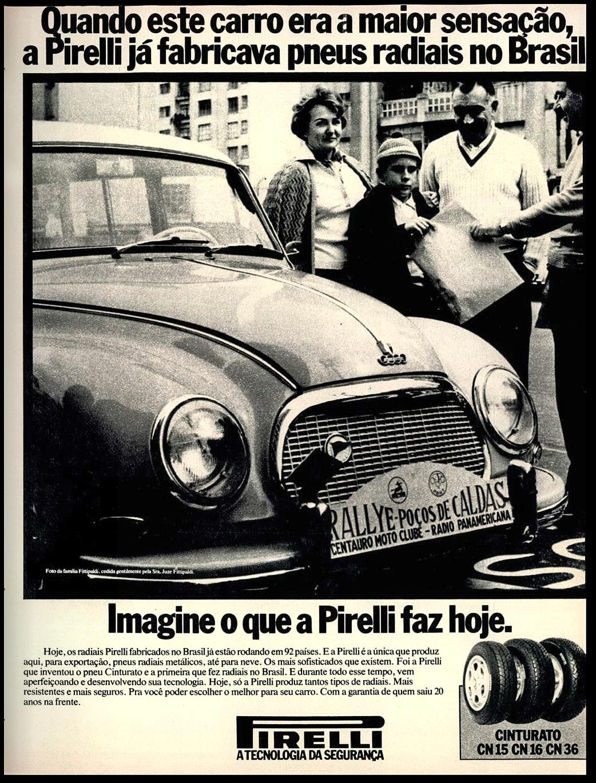 Propaganda antiga da Pirelli no final dos anos 70 promovendo sua linha de radiais