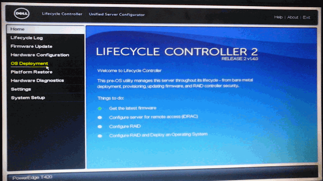 Painel principal do Lifecycle Controller 2