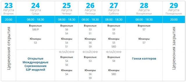 Календар Чемпіонату з ракетомодельного спорту