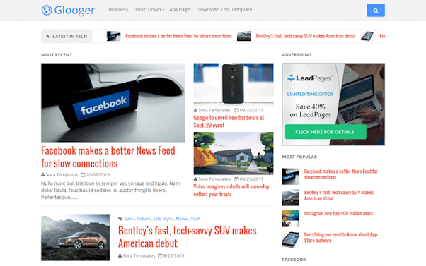 Glooger Free Blogger Template