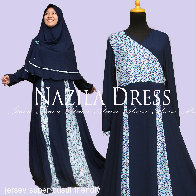 Baju Gamis Muslim Menyusui Terbaru Nazila Dress Biru