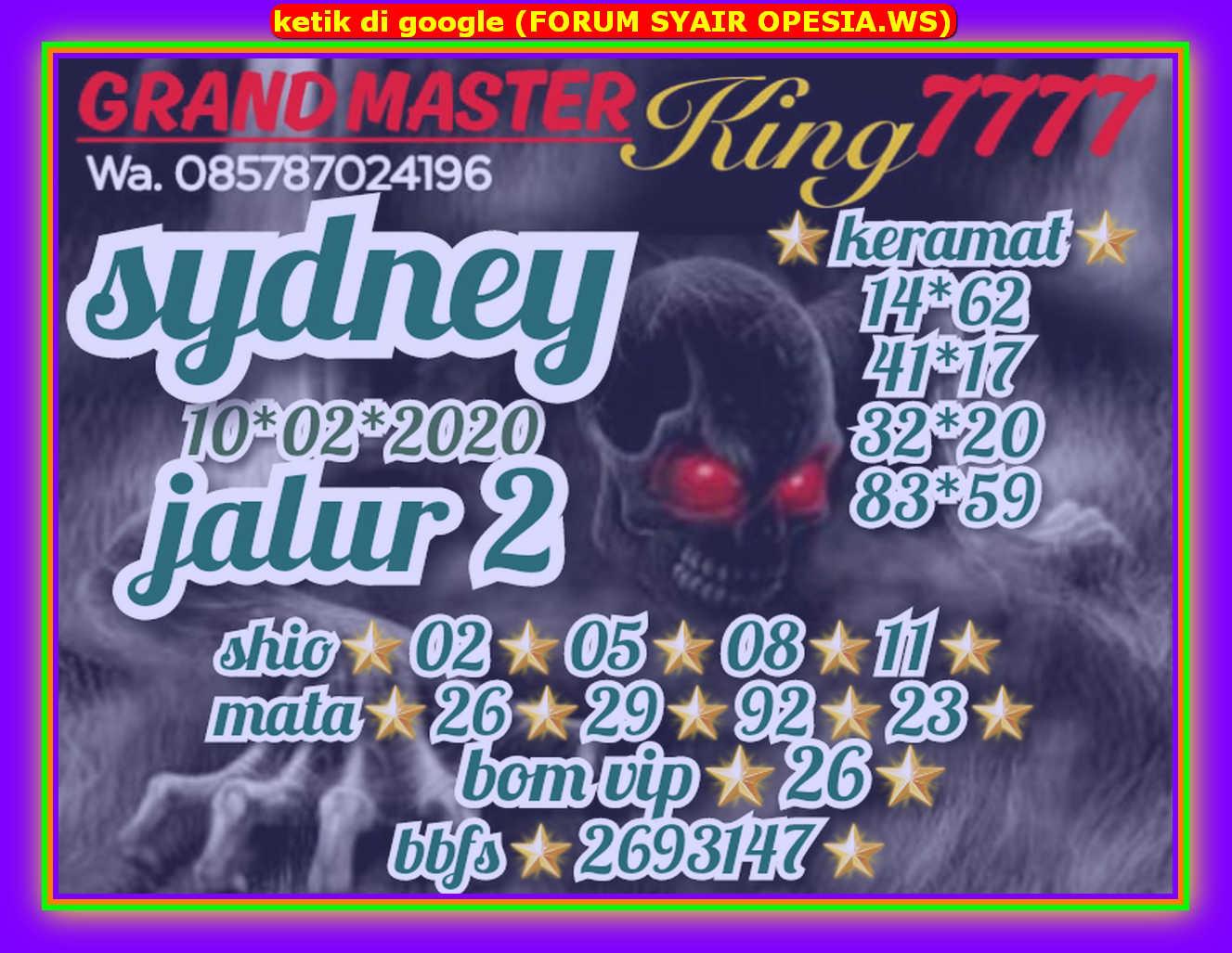 Kode syair Sydney Senin 10 Februari 2020 31