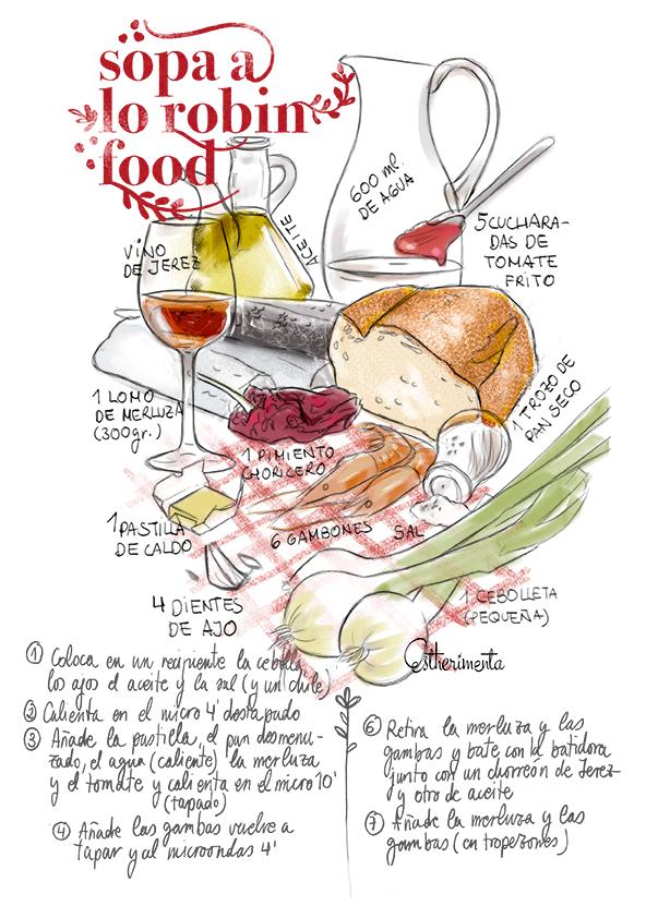 receta ilustrada de sopa robin food