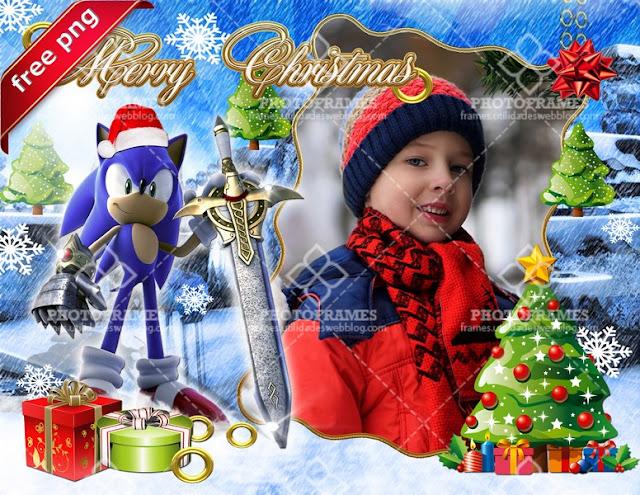 Marco navideño para fotos inspirado en el personaje : Sonic