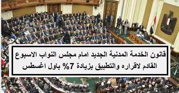 قانون الخدمة المدنية الجديد امام مجلس النواب الاسبوع القادم لاقراره والتطبيق بزيادة 7% اول اغسطس