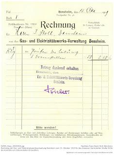 Bensheimer Häuser - Elektrisches Licht in Bensheimer Häusern -  Rechnung der GGEW Bensheim von 1919 über die Kontrolle der Anschlüsse im Haus Darmstädter Straße 50