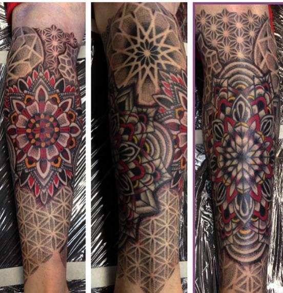 Multiple Tattoo Sleeve: TRIUMPH TATTOO: Geometric & Mandala Tattoos By Mark Stewart