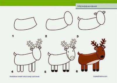 Cara menggambar hewan rusa