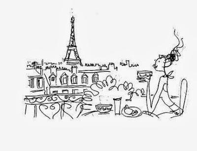 """Ilustração de um café da manhã (pequeno-almoço) em Paris, da página do Facebook """"Lo Charme è un nodo da stringere con stile"""""""