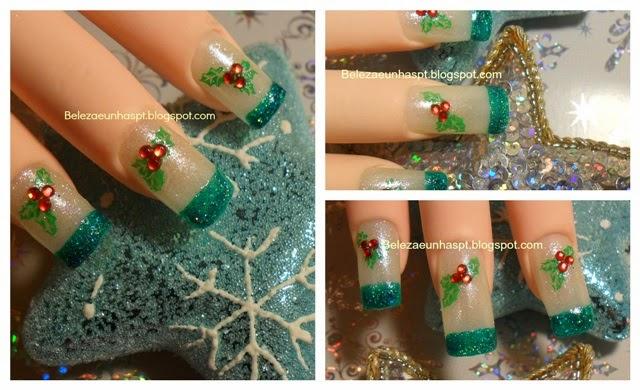 manicure para o natal flor de azevinho