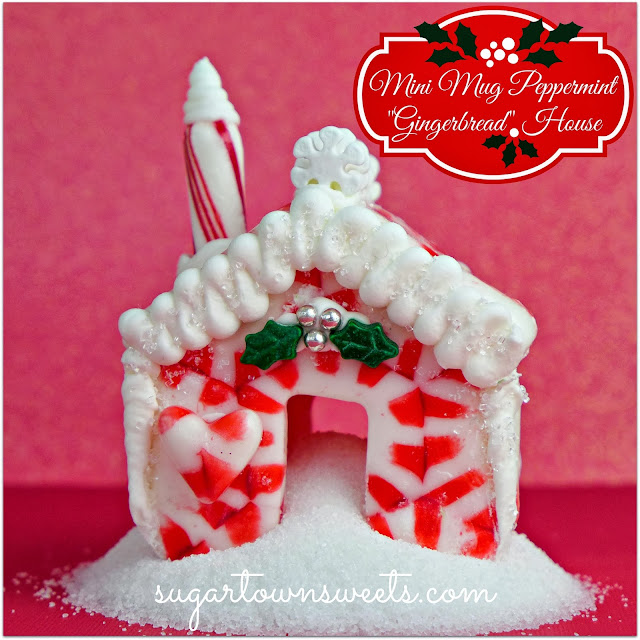 Super cute Mini Mug #Christmas House Tutorial using melted Peppermint Candy… ADORABLE!