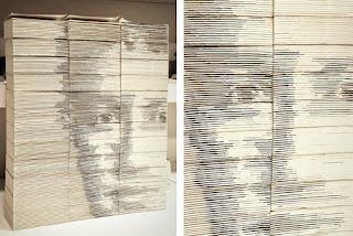 Retrato de Zuckerberg por Red Hong Yi con hojas de libros