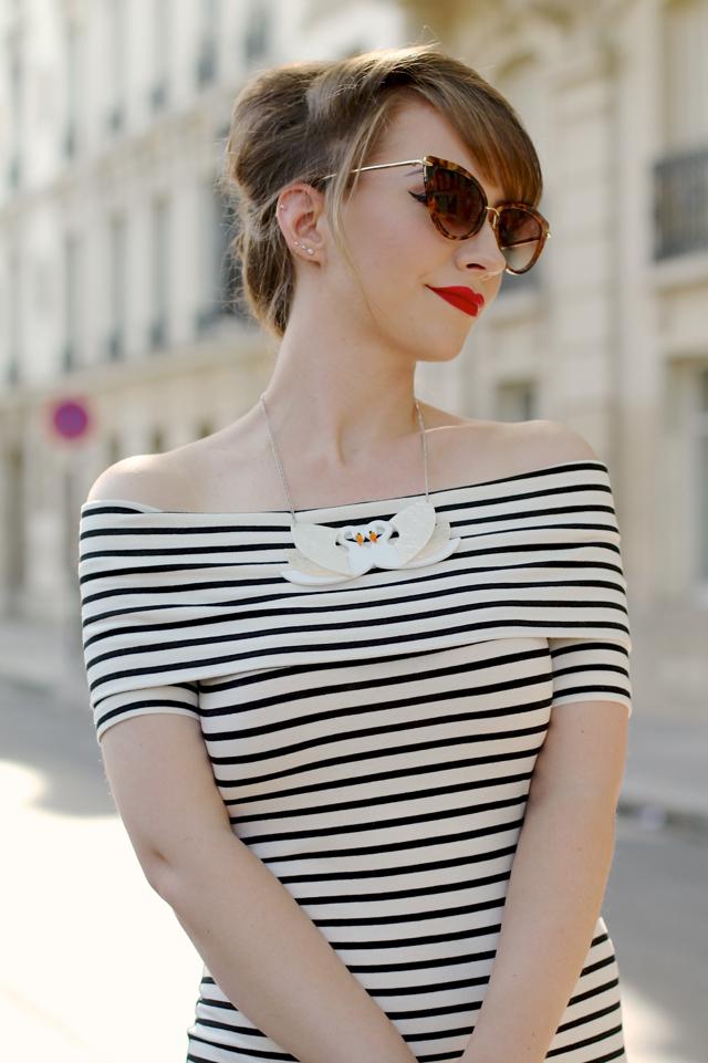Bardot neck striped dress and Erstwilder swans necklace in Paris
