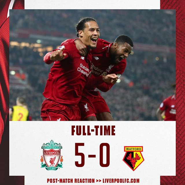 Football Highlights: Liverpool 5 - 0 Watford [English Premier League] Highlight 2018/2019