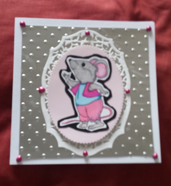 "Cartoon mouse (Cinderella style) on 6"" square card"