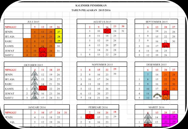 Download Kalender Pendidikan Dengan Tampilan Terbaru Dari Dinas Pendidikan 2016-2017