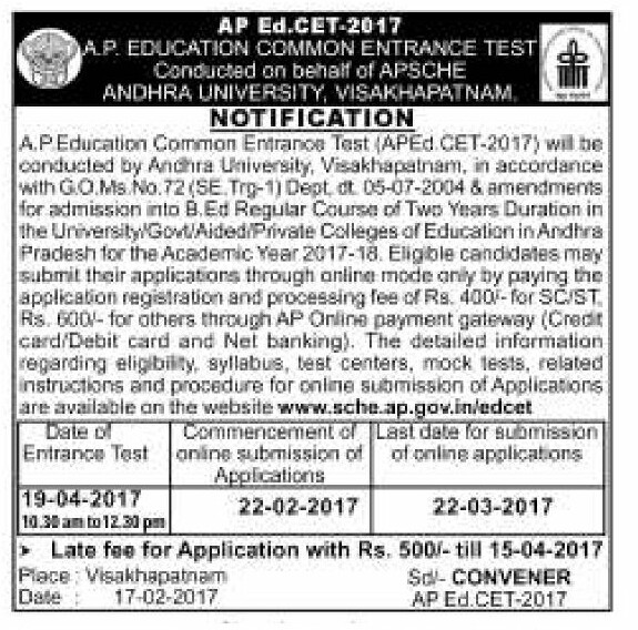 AP Ed.CET 2017-APEDCET 2017 Notification Schedule