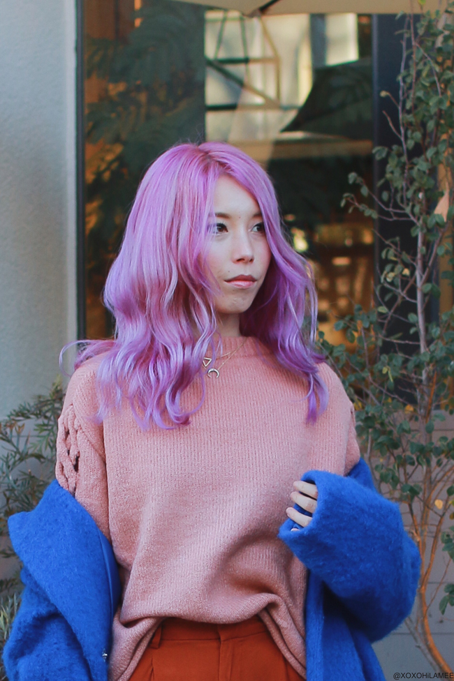 Japanese Fashion Blogger,MizuhoK,OOTD,ZAFUL=pink Oversized Braided Sleeve Pullover Sweater,Contrasting Color Buckle Strap Tote Bag,Gamiss=blue coat,H&M=culotte pants,SASHI=half moon necklace,RAG & BONE=ivory boots
