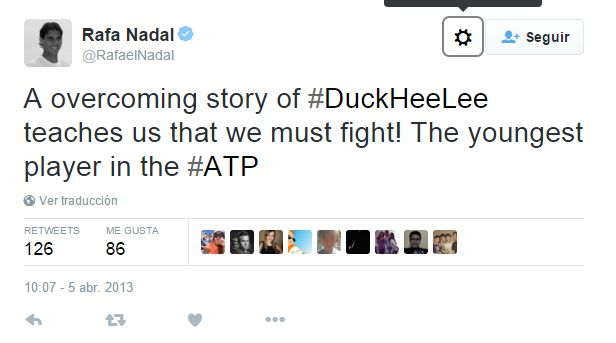 Tuit de Rafa Nadal sobre el tenista sordo Duck Hee Lee: A overcoming story of #DuckHeeLee teaches us that we mus fight!...