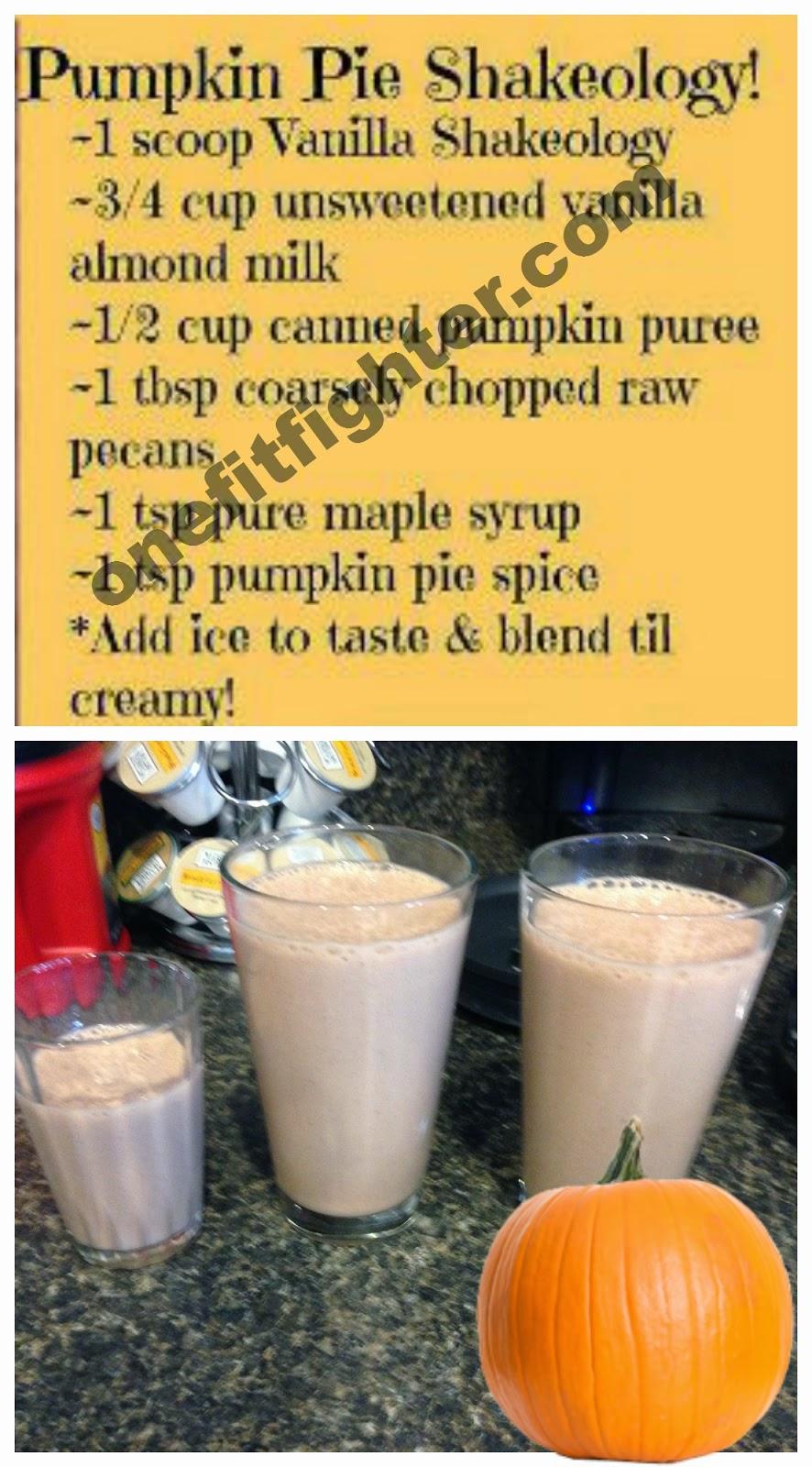 pumpkin pie shakeology, shakeology pumpkine recipe