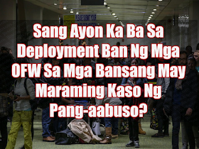 """Senators are urging President Duterte to make  the ban on the deployment of Filipino housemaids to Kuwait permanent and expand the ban to countries with high number of cases of abuse and maltreatment committed against the Overseas Filipino Workers.  Sen. Cynthia Villar said that the government should strictly impose a permanent ban on countries most particularly in the Middle East, with recorded a high incidence of abuse of OFWs, particularly household service workers.  """"The government knows these countries that are abusive to our domestic helpers so let's not send them there because they'll be victimized,"""" Villar said.  She said the """"culture"""" in certain Middle East countries is """"really different"""" so the deployment of Filipino household workers there often pose problems for their families and the government.  The senator said 80 percent of the problematic cases handled by the Department of Labor and Employment (DOLE) and other concerned agencies involve overseas Filipino household service workers.  """"If they (Filipino domestic workers) are not deployed, then 80 percent of the government's problem on OFWs (overseas Filipino workers) are gone,"""" Villar said.  She expressed support for Duterte's deployment ban on Kuwait.  Detained Sen. Leila de Lima called on the Duterte administration to provide measures for the integration of hundreds of OFWs displaced due to the continued diplomatic row between Qatar and its neighboring countries.  De Lima said the DOLE and the Department of Foreign Affairs (DFA) should swiftly implement their contingency plans to assist OFWs and their families in the Philippines.    """"The government should ensure that OFWs would be assisted in finding decent jobs back home or other overseas destinations, if not help them set up business and livelihood in the country,"""" she said.  Sen. Sherwin Gatchalian noted that Kuwait and Saudi Arabia appeared to have the most number of recorded cases of abuse of OFWs.  Gatchalian pushed for bilateral agreements bet"""