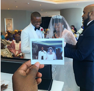 Popular Oap, Toolz Oniru , all smiles at her wedding to Captain Tunde Demuren. As Banky W looks on
