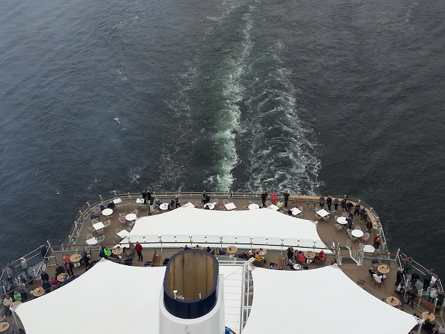 TUI cruise ship Mein Schiff 6 departing Bergen, Norway; Cruise ship aerial view