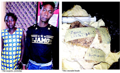 ritualists arrested crushed human heads ipaja lagos