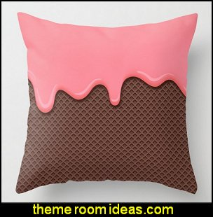 DRIPPING CAKE Throw Pillow   circus bedroom ideas - circus theme bedroom decor - carnival theme bedrooms - decorating circus theme bedrooms - Ice Cream theme decor - balloon decor - Disney Dumbo - circus party theme - Roller Coaster Amusement Park wall decals - ice cream party decorations