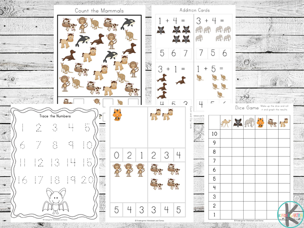 Mammal Math Worksheets to help kids practice counting, addition, graphing, and more