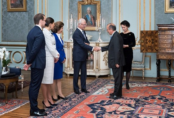 King Carl Gustaf, Queen Silvia, Prince Daniel. Crown Princess Victoria wore a skirtsuit, blazer and skirt, Ralph Lauren shoes