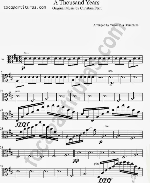 Partitura de A Thousand Years para Viola Sheet Music for Viola