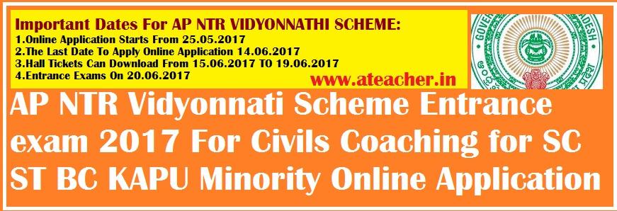 AP NTR Vidyonnati Scheme Entrance exam 2017 For Civils Coaching for SC ST BC KAPU Minority Online Application