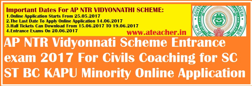 AP NTR Vidyonnati Scheme Entrance exam 2018 For Civils Coaching for SC ST BC KAPU Minority Online Application