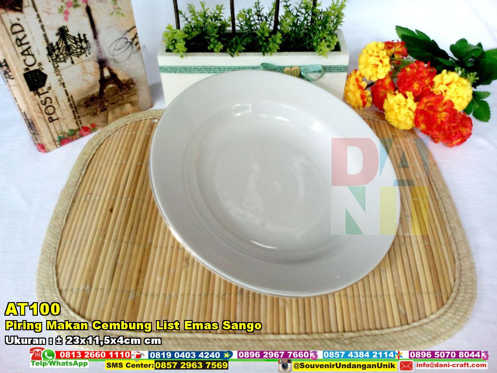 Piring Makan Cembung List Emas Sango  Souvenir Pernikahan