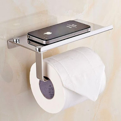 Bathroom Tissueholder with Mobile Phone Storage Shelf