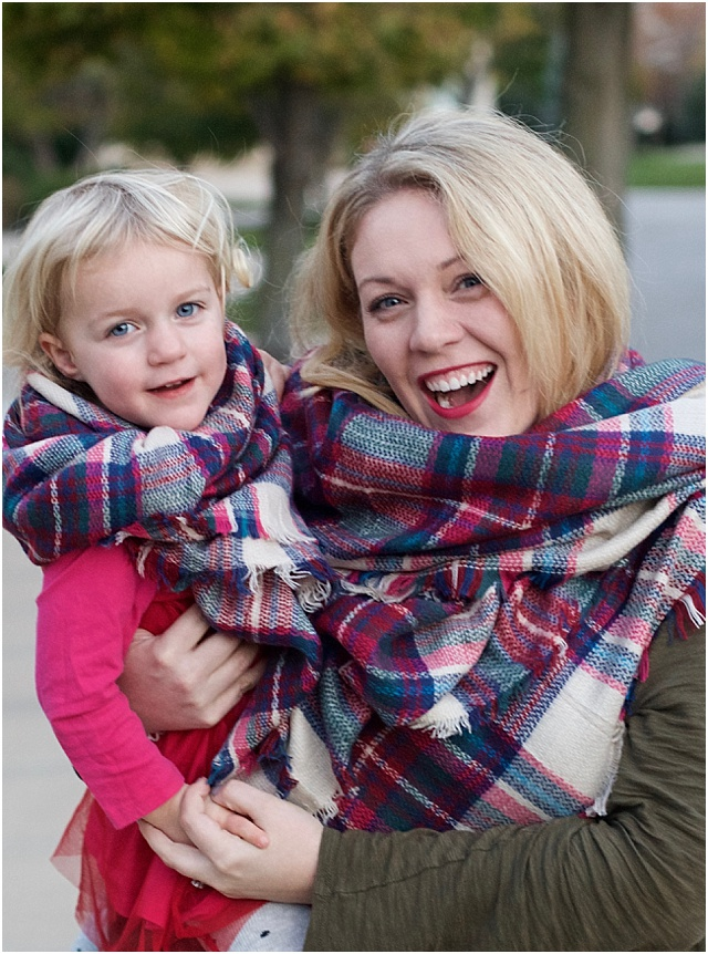 matching mama and mini plaid scarves