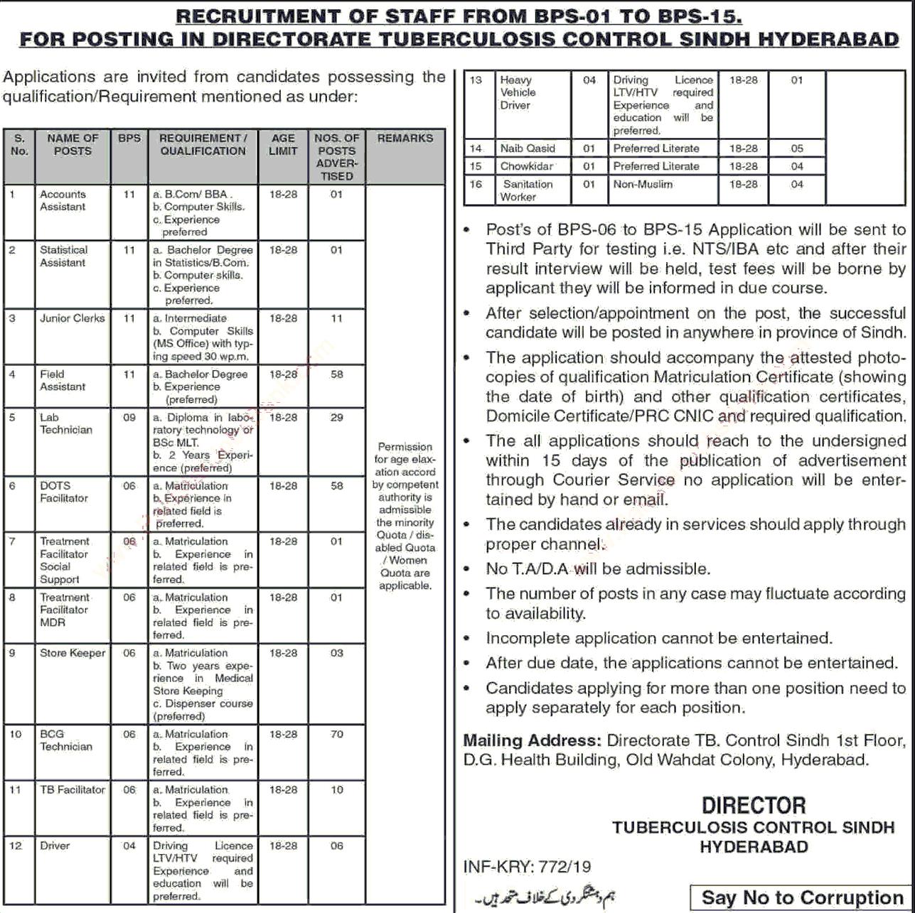 Direcgorate Tuberculosis Control job sindh 2019