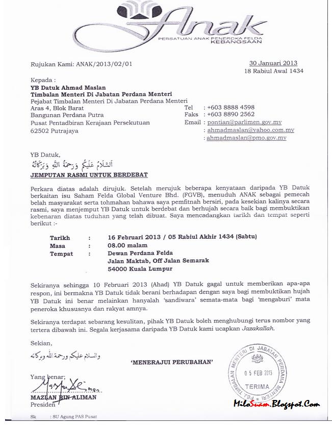 contoh surat rasmi yang berhormat rasmi ri