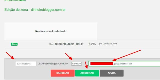 adicionando cname registro br