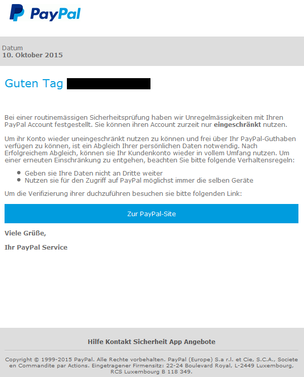 phishing mail alerts paypal wichtige mitteilung. Black Bedroom Furniture Sets. Home Design Ideas