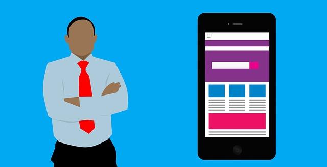a men showing mobile webpage design