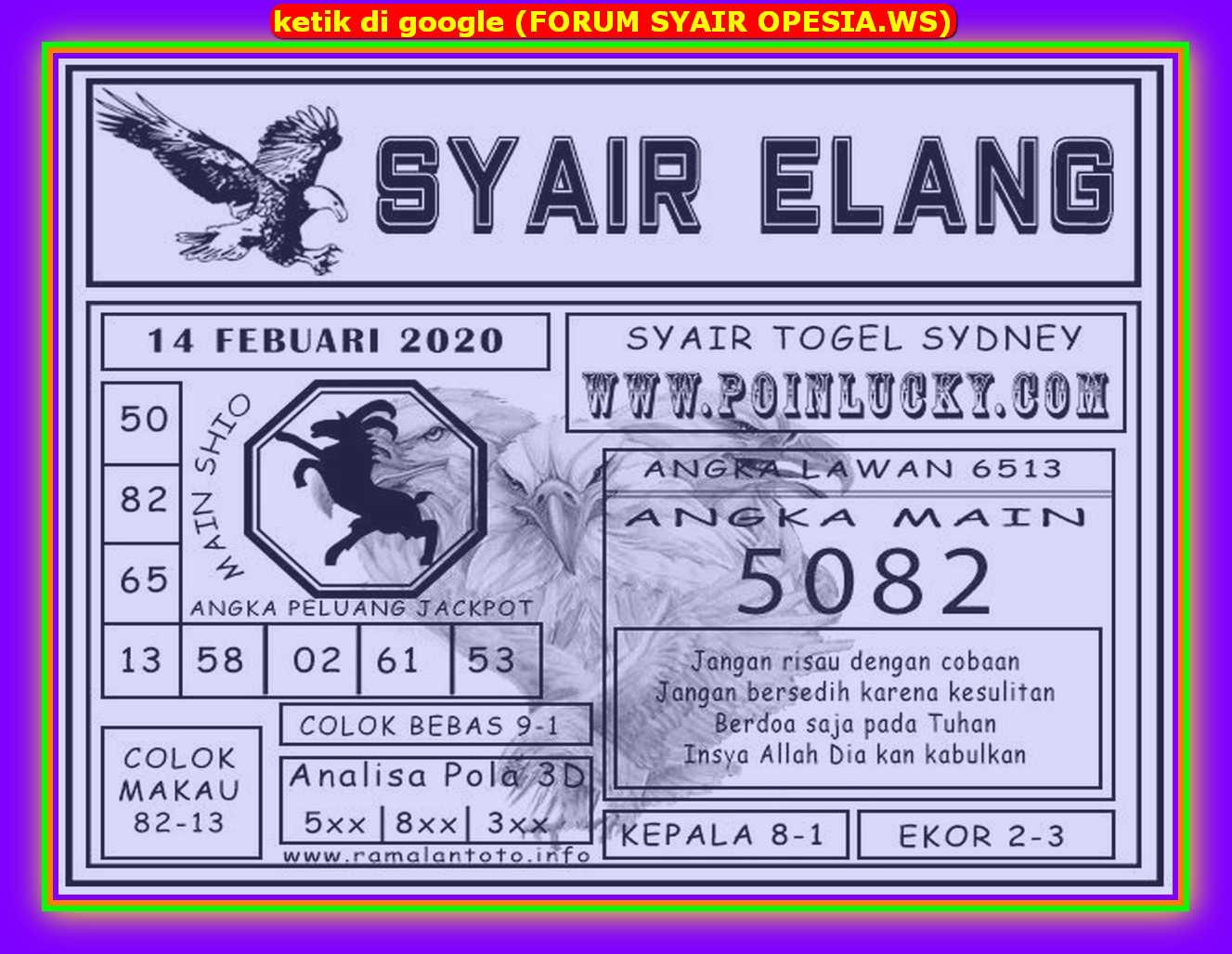 Kode syair Sydney Jumat 14 Februari 2020 113