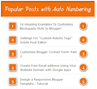 Popular Postswith auto numbering