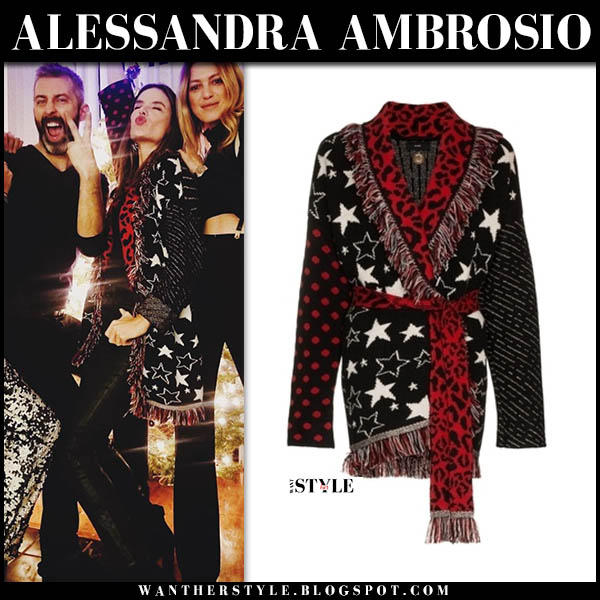 Alessandra Ambrosio in black and red star print fringe cardigan alanui model style december 18