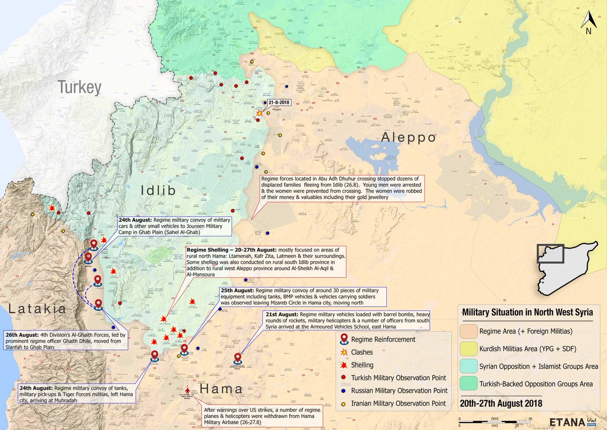 here is a map showing the present situation inside syria and where idlib province is located