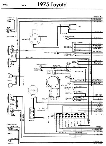 repair-manuals: Toyota Celica A20 1975 Wiring Diagrams