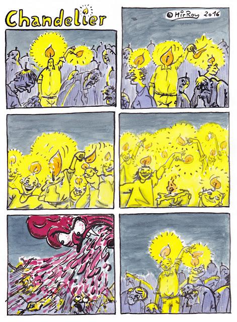 Webcomic von MirRoy, Tuschzeichnung und Wasserfarben