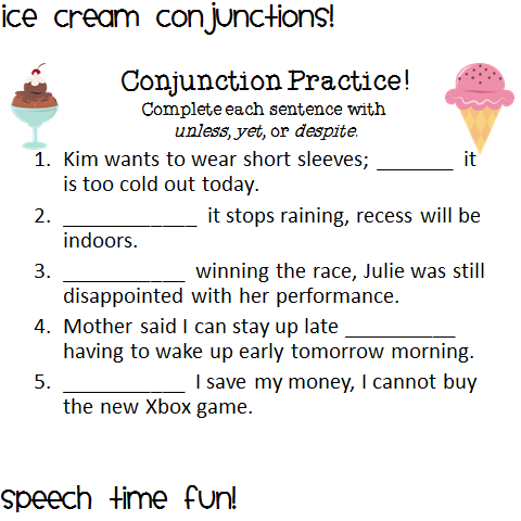 ice cream conjunctions speech time fun speech and language activities. Black Bedroom Furniture Sets. Home Design Ideas